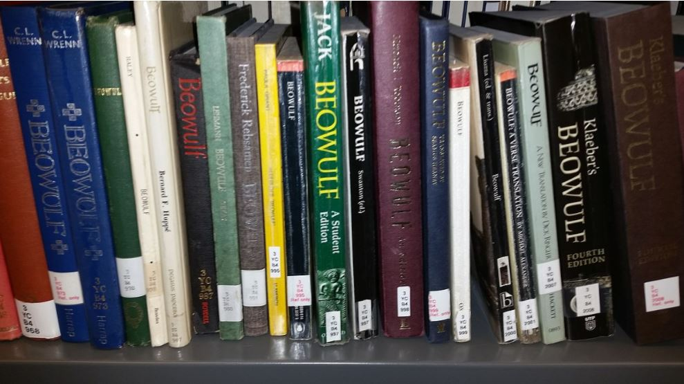 image showing multiple copies of beowulf on a bookcase shelf