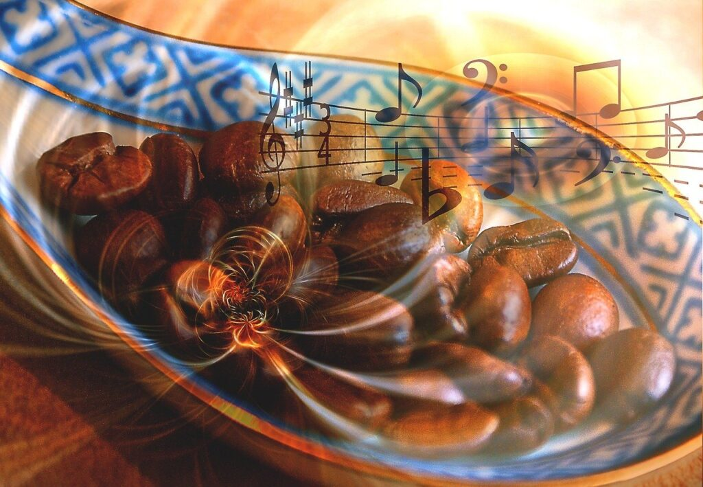 image showing coffee beans and musical notation