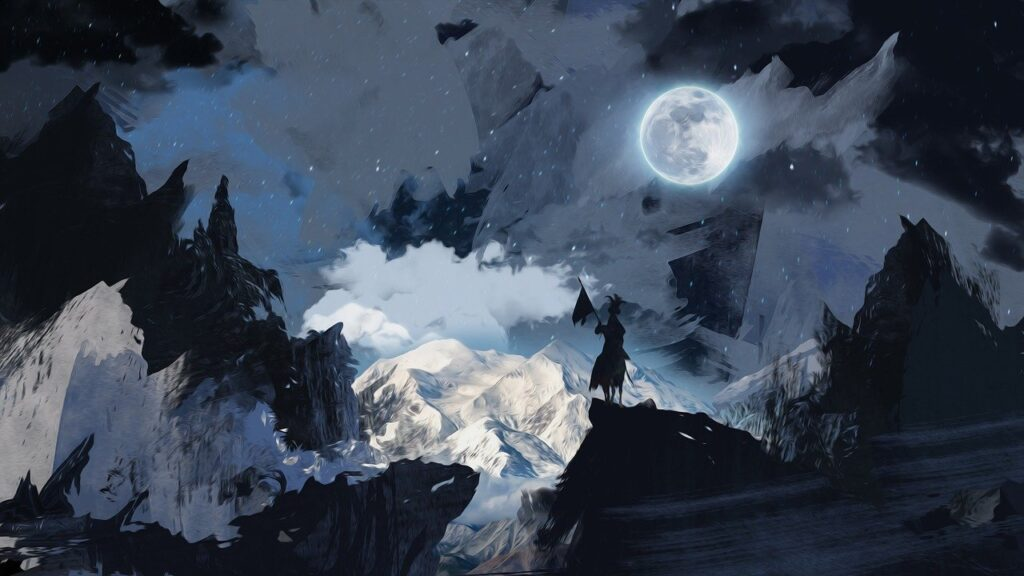 image showing a full moon in the mountains